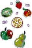 Conjunto de la fruta Objetos aislados stock de ilustración