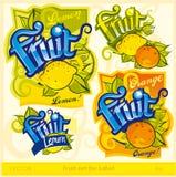 Conjunto de la fruta para la escritura de la etiqueta Fotos de archivo
