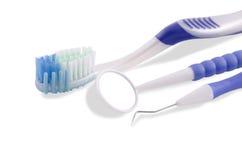 Conjunto de la herramienta del cuidado dental Fotos de archivo libres de regalías