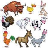 Conjunto de la historieta de animales del campo Fotos de archivo