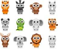 Conjunto de la historieta de los animales de la selva Imágenes de archivo libres de regalías