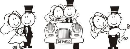 Conjunto de la historieta de novia y del novio stock de ilustración