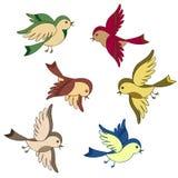 Conjunto de la historieta del pájaro de vuelo Fotografía de archivo
