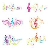 Conjunto de la ilustración colorida de las notas musicales Foto de archivo libre de regalías