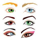 Conjunto de la ilustración de los ojos Fotografía de archivo