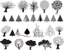 Conjunto de la ilustración del árbol Fotografía de archivo