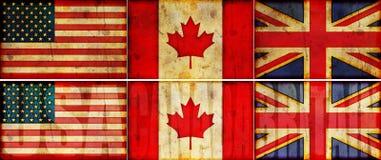 Conjunto de la ilustración del indicador de los E.E.U.U., de Canadá y de Gran Bretaña Grunge Imágenes de archivo libres de regalías