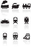 Conjunto de la ilustración del símbolo del tren. Imagen de archivo libre de regalías