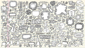 Conjunto de la ilustración del vector del Doodle del cuaderno Imagen de archivo