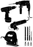 Conjunto de la ilustración del vector de 4 diversas herramientas eléctricas Imagen de archivo libre de regalías