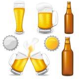Conjunto de la ilustración del vector de la cerveza Imagenes de archivo