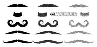 Conjunto de la ilustración del vector del bigote Imagen de archivo