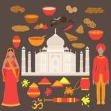 Conjunto de la India Elementos del diseño del Hinduismo Mujer hermosa y hombre de Asia del Sur que llevan el paño tradicional ind Fotografía de archivo