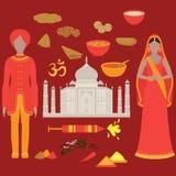 Conjunto de la India Elementos del diseño del Hinduismo Mujer hermosa y hombre de Asia del Sur que llevan el paño tradicional ind stock de ilustración