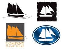Conjunto de la insignia del barco de vela Imagen de archivo libre de regalías
