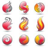 Conjunto de la insignia del fuego ilustración del vector