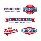 Conjunto de la insignia del restaurante de los alimentos de preparación rápida Foto de archivo libre de regalías