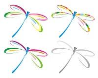 Conjunto de la libélula del color. ilustración del vector