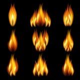 Conjunto de la llama Imagen de archivo libre de regalías