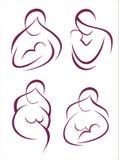 Conjunto de la madre y del niño de iconos ilustración del vector
