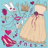 Conjunto de la manera de la princesa Fotografía de archivo libre de regalías