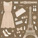Conjunto de la manera de París Imagen de archivo libre de regalías