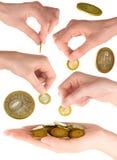 Conjunto de la mano con las monedas Imágenes de archivo libres de regalías