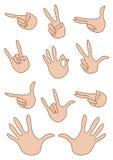 Conjunto de la mano de los gestos Fotos de archivo libres de regalías
