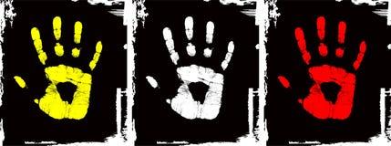 Conjunto de la mano del color del grunge del vector Stock de ilustración