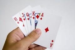 Conjunto de la mano del póker que gana Imágenes de archivo libres de regalías