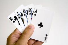 Conjunto de la mano del póker que gana Imagen de archivo
