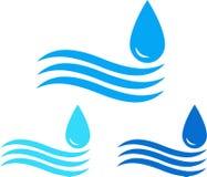 Conjunto de la muestra del agua con la onda y la gota Imagen de archivo