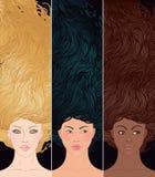 Conjunto de la mujer ehtnic multi de los retratos Imagen de archivo libre de regalías