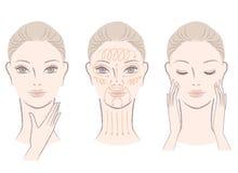 Conjunto de la mujer elegante que da masajes a su cara y cuello