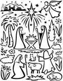 Conjunto de la natividad de la Navidad stock de ilustración