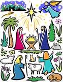 Conjunto de la natividad de la Navidad ilustración del vector