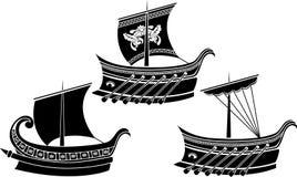 Conjunto de la nave del griego clásico ilustración del vector