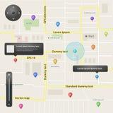 Conjunto de la navegación del GPS de elementos del vector Imagen de archivo libre de regalías