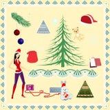 Conjunto de la Navidad stock de ilustración