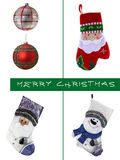 Conjunto de la Navidad Bola y calcetín Imagen de archivo libre de regalías