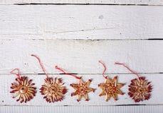 Conjunto de la Navidad Cinco juguetes de madera Imagen de archivo libre de regalías