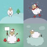 Conjunto de la Navidad Cuatro giftcards, invitaciones, reserva Fotografía de archivo libre de regalías