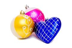 Conjunto de la Navidad de dos bolas y corazones Fotos de archivo libres de regalías
