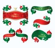 Conjunto de la Navidad de las etiquetas para las invitaciones Fotografía de archivo libre de regalías