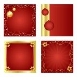 Conjunto de la Navidad fondo-rojo y de oro Fotografía de archivo libre de regalías
