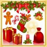 Conjunto de la Navidad. regalos Imagen de archivo libre de regalías