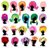 Conjunto de la peluca de las siluetas Fotografía de archivo libre de regalías