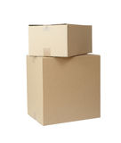 Conjunto de la pila de las cajas de cartón Imágenes de archivo libres de regalías
