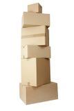 Conjunto de la pila de las cajas de cartón Foto de archivo