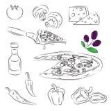 Conjunto de la pizza Imagen de archivo